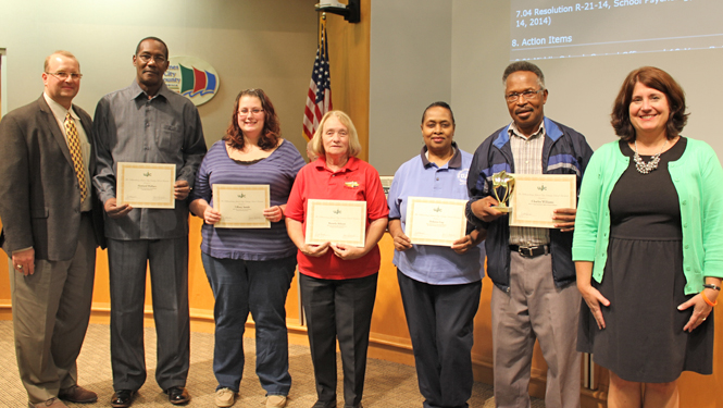 Pictured (L to R): Jim Kelly (WJCC School Board Vice Chair), Howard Wallace, Tiffany Smith, Brenda Abbott, Delores Gay, Charles Williams, Ruth Larson (WJCC School Board Chair)  Not pictured: Dale Hewlett, Jerry Bass, Lakeya Marsh, Lesley Carlson, Trent Strong