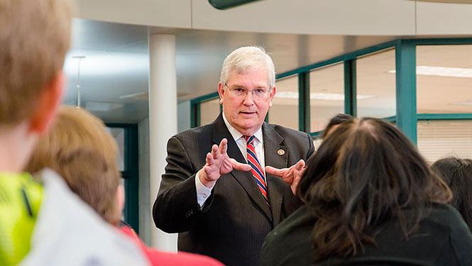 Senator John Miller speaks to Berkeley Middle School students