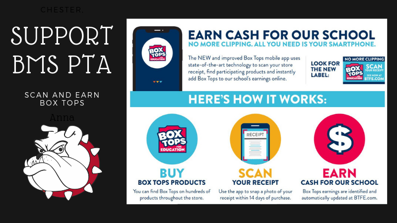 SUpport BMS PTA by downloading the Box Tops App - Scan and Earn Cash for our school