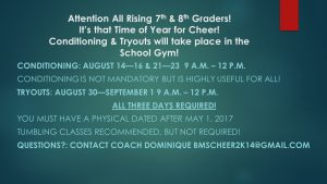 Cheer tryouts bms 2017