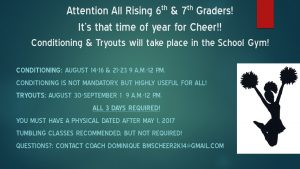 Cheerleading Conditioning & Tryouts 2017