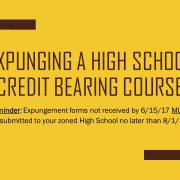 Expunging a high school credit bearing course