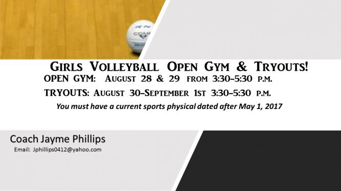 FMI: Coach Jayme Phillips Email: Jphillips0412@yahoo.com
