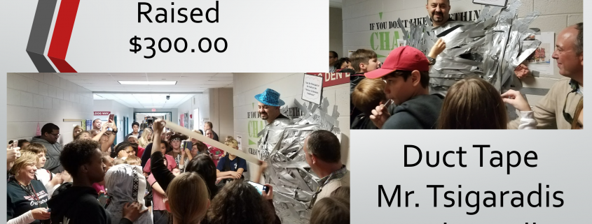 Photo: Raised $300 for PTA by selling duct tape strips.