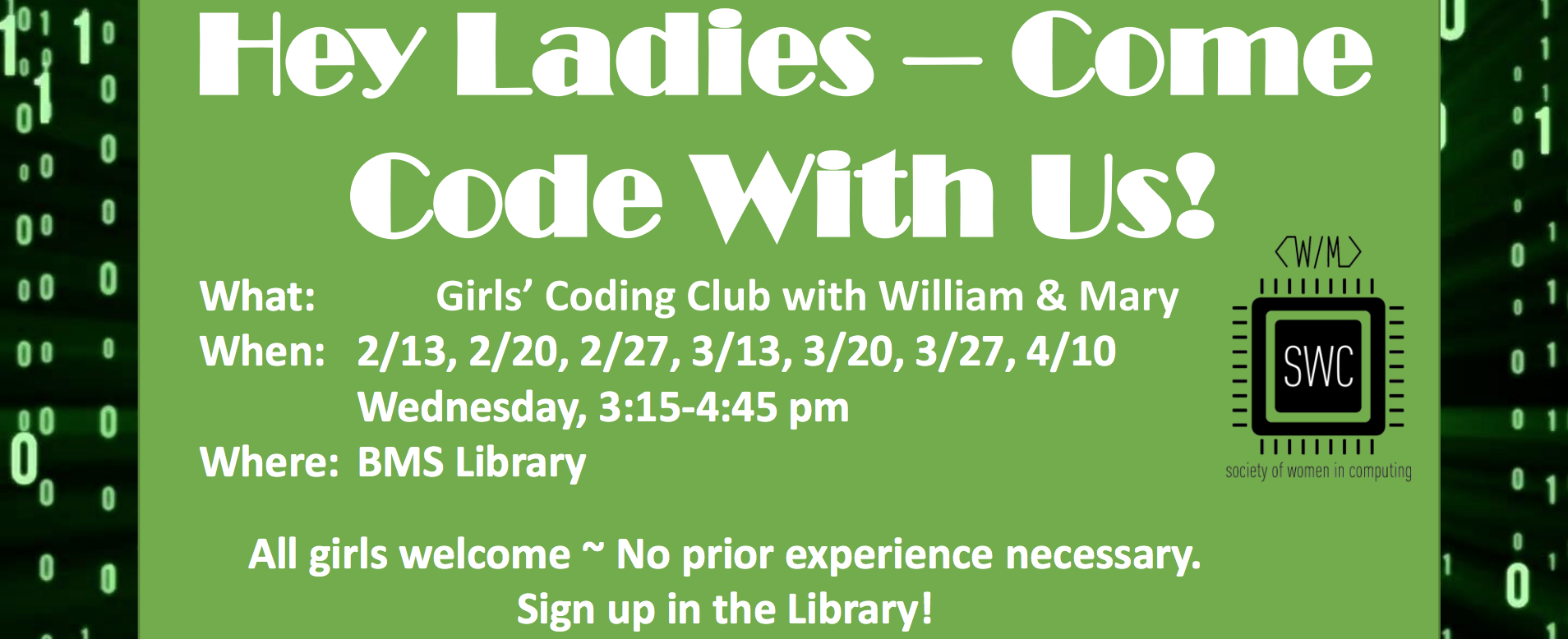 Girls Coding Club Flyer