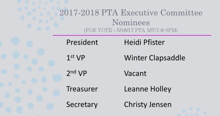 2017-2018 PTA Executive Committee Nominees
