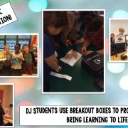 DJ Students use Breakout Boxes funded by the WJCC Schools Foundation to think critically and work as a team.