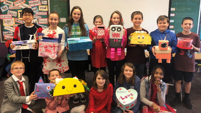 5th Graders create Valentine's Day boxes.