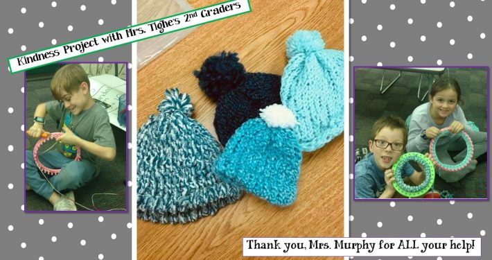Mrs. Tighe's 2nd Graders knit hats for FISH as a part of a kindness project.