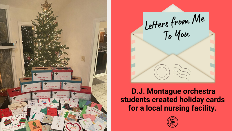 D.J. Montague orchestra students created letters for a local nursing facility