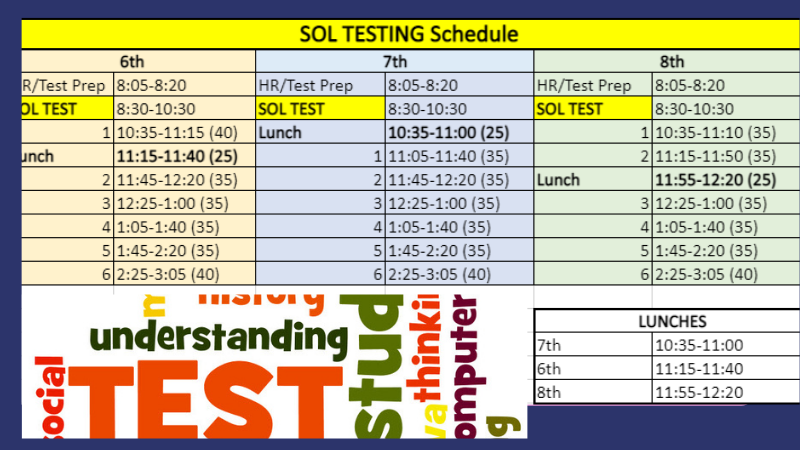 SOL testing schedule