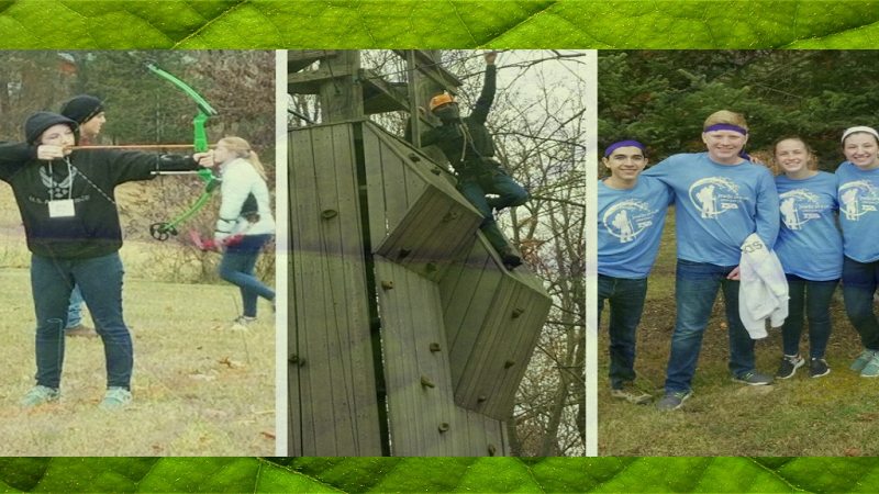 collage of students outside shooting an arrow, climbing a structure and standing together wearing matching tee shirts