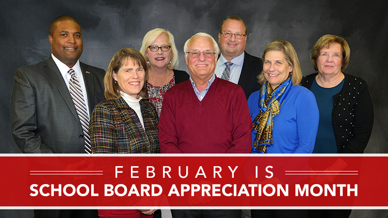 Group photo of current school board members. L to R: D. Greg Dowell, Kyra Cook, Lisa Ownby, Jim Beers, Jim Kelly, Julie Hummel, Sandra Young