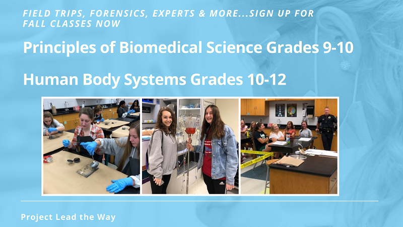 Interested in medicine, sign up for fall 2020 classes now. collage of three photos showing two students holding a bag of blood, students taking fingerprint samples and a classroom visit from a police officer