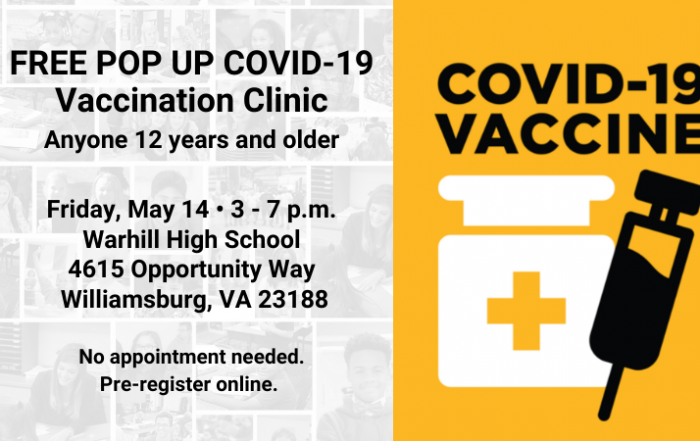 FREE POP UP COVID-19 Vaccination Clinic - 12 and up
