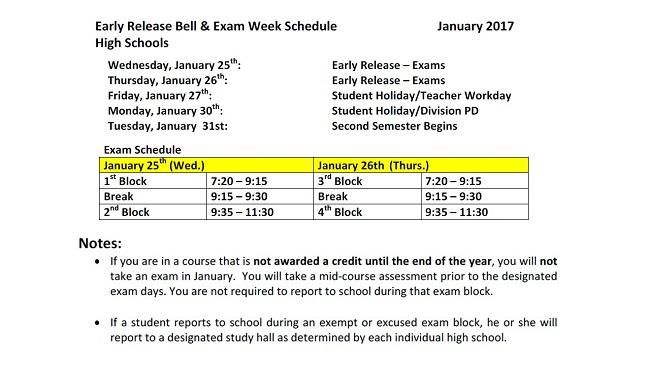 Exam Schedule 2017