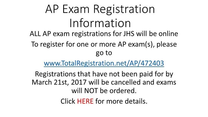 AP Exam Registration Information