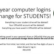 Next year computer login's will change for STUDENTS