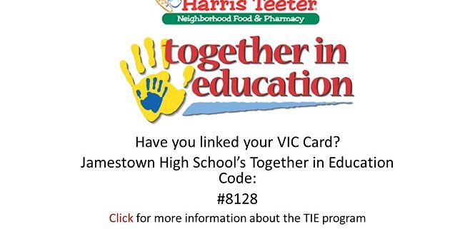 Have you linked your VIC Card? Jamestown High School's Together in Education code: #8128. Click for more information.