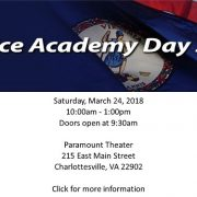 Service Academy Day Saturday, March 24, 2018 10:00am - 1:00pm Doors open at 9:30am Paramount Theater 215 East Main Street Charlottesville, VA 22902