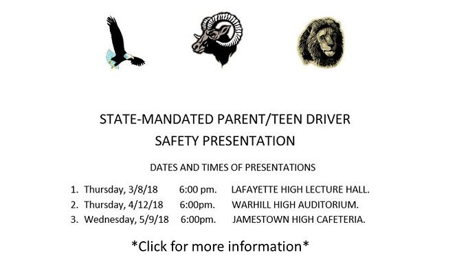 State - Mandated Parent/Teen Driver Safety Presentation. Click for dates, times, and more information.