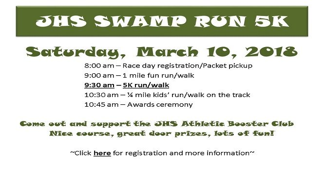 JHS Swamp Run Saturday, March 10, 2018. Click for more information