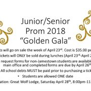 Junior/Senior Prom will go on sale during lunches starting on April 23rd until April 27th. Location: Great Wolf Lodge, Saturday April 28th, 8:00pm-11:00pm