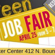Teen Job Fair April 25th from 5-7 @ stryker center 412 N. Boundary St.