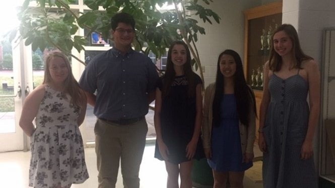 Congratulations to the newly inducted 2019-2020 Key Club officers. Outgoing and incoming officers from the Williamsburg area high schools gathered at JHS to celebrate their leadership roles. Pictured from left to right: Megan Buffkin (Editor), Jack Mingo (Treasurer), Caroline Fuller (Vice President), Sophia Liu (President), and Kate Long (Secretary).