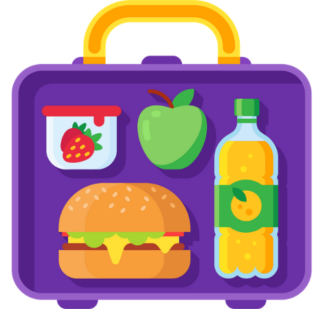Lunch box with a sandwich, apple, drink and snack