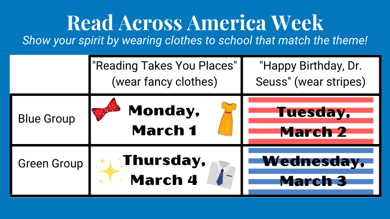 read across america week schedule