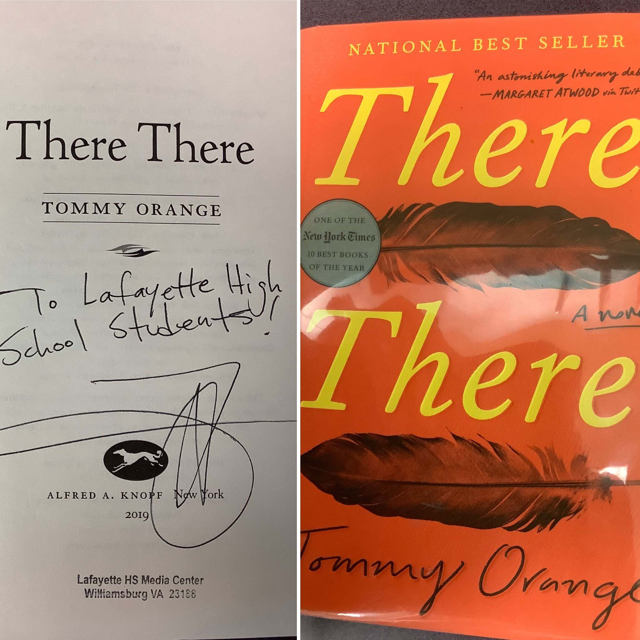 """Autographed title page of the book, """"There There""""."""