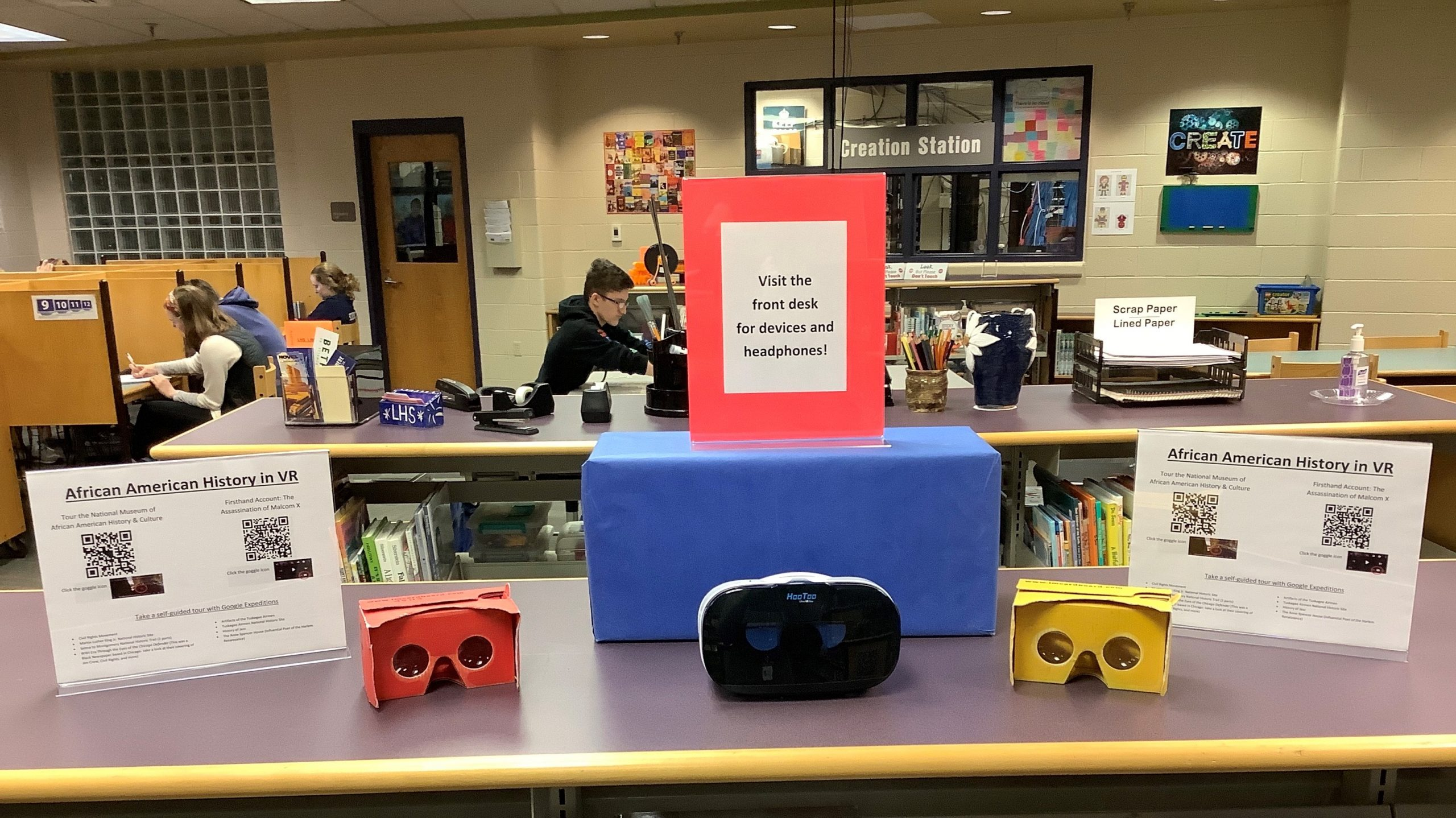 Display of Black History Month Virtual Reality Resources.