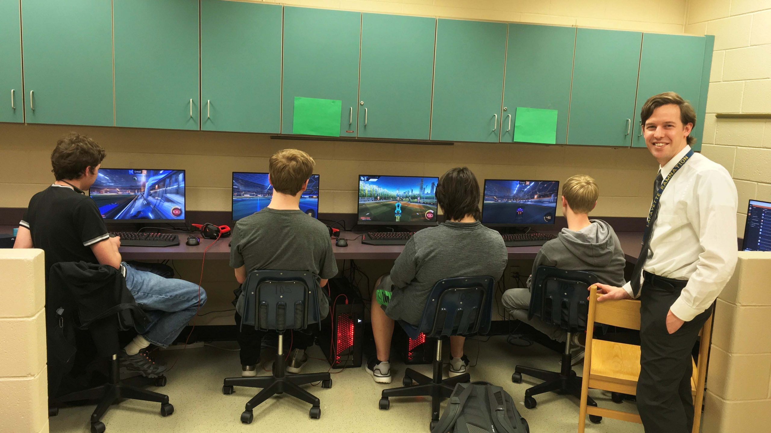 The new LHS eSports Team practice at their computers.