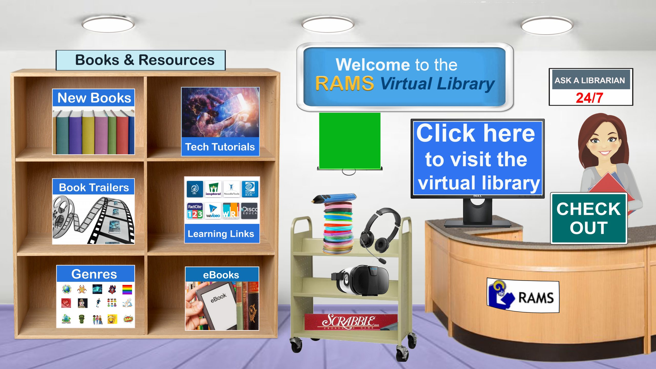 """Picture of the virtual library with the words """"click here to enter the virtual library""""."""