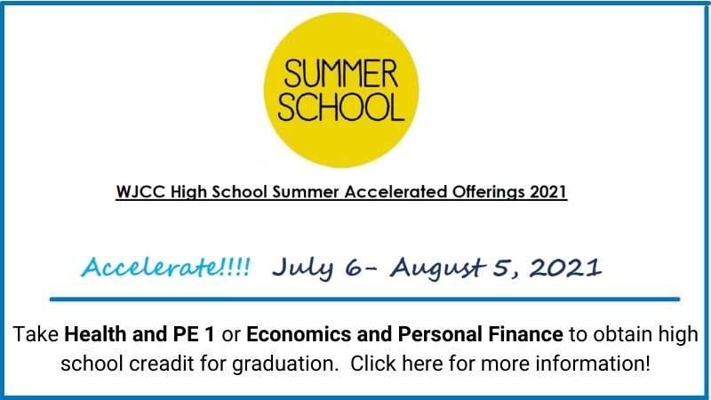 Summer School Accelerate July 6 through August 5. Take Health and PE 1 or Economics and Personal Finance to obtain high school creadit for graduation. Click for more information!