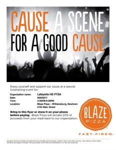 Blaze Pizza Fundraiser 9/20 from 5-8pm