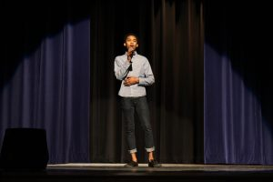 LHS student sings during the Black History Month Assembly
