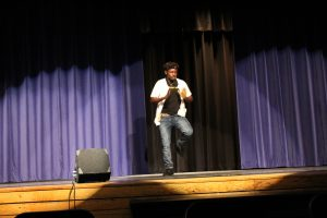 LHS student dances during the Black History Month Assembly