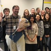 Mr. Legaweic was named the LHS Teacher of the Year. He is pictured here with several of his students.