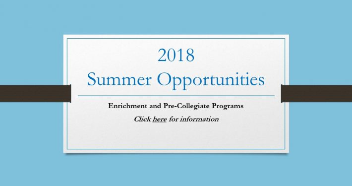 Click here for Summer Opportunities