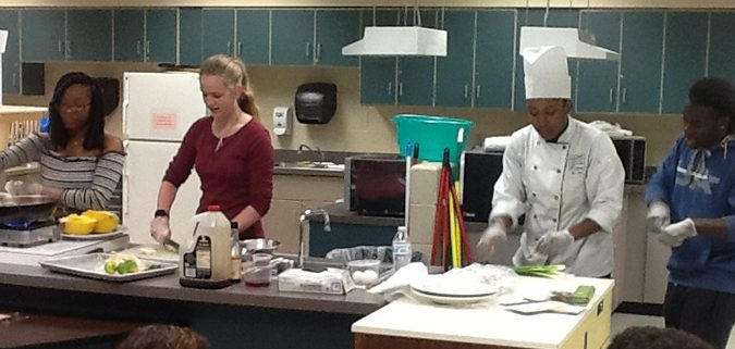 Ms. Carter's Nutrition and Wellness students get a demonstration from the VA Culinary Institute