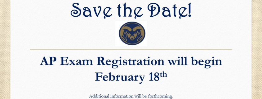 AP Exam Registration will be February 18th