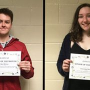 Seniors Ben McGee and Christine Strong pictured with their Senior of the Month certificate.