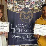 K. Kline and T. Canady are Seniors of the Month.