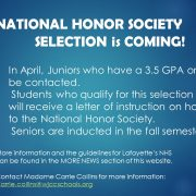 In April, Juniors with a 3.5 GPA or high will receive a letter of instruction on how to apply to NHS. Seniors are only inducted in the fall. Click here for more information.