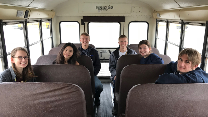 Six Scholastic Bowl Team on their way to the regional competition.
