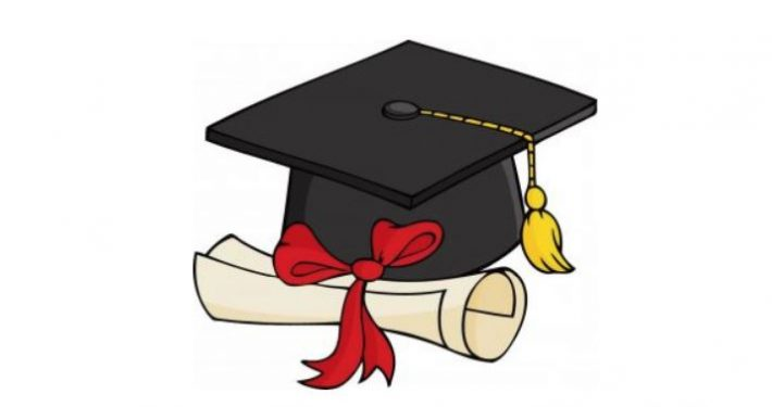 Graduation cap and diploma clipart.
