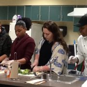 3 LHS students cook alongside a professional chef.
