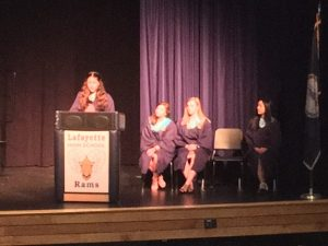 NHS officers give speeches.